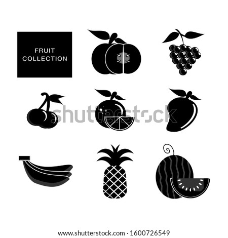 Fruit collection icon. Fruit sign in black flat design. fruit basic element graphic resources. Zdjęcia stock ©