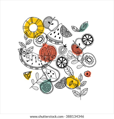 Fruit composition. Scandinavian style illustration. Vector illustration #388134346