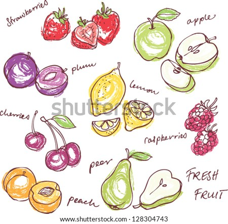 fruit doodles seamless vector