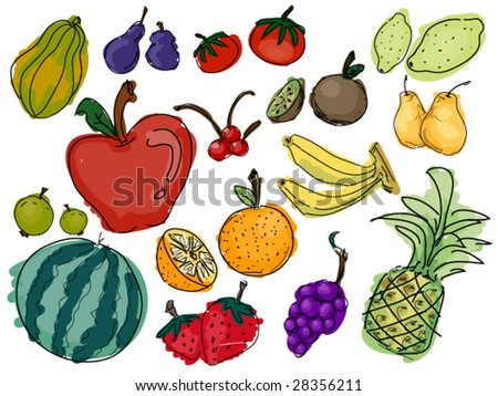 Fruit Doodles - Vector