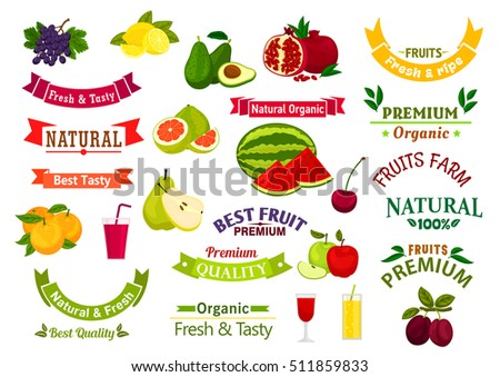 Fruit emblems, ribbons, labels for juice, jam, product sticker design. Exotic  and tropical, garden and farm fruits, berries. Ripe Avocado, watermelon, cherry, grape, plum, orange, apple, pear, lemon