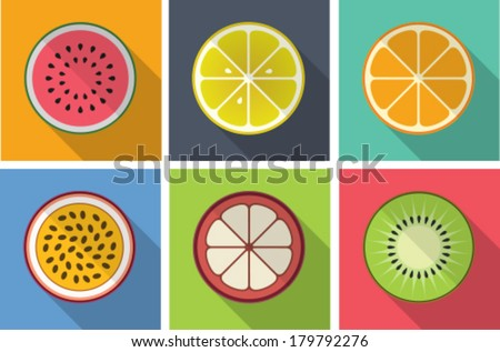 fruit flat icons with long shadow