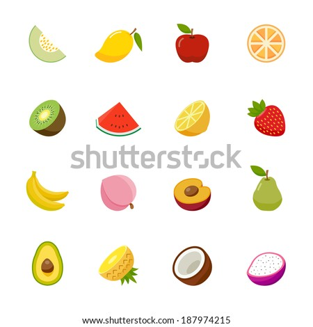 fruit full color flat design