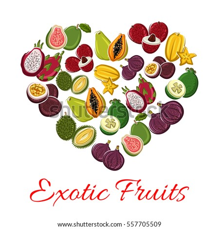 Fruit heart of exotic fruits with mango, grapefruit or orange, passion fruit maracuya and feijoa, carambola and dragon fruit or pitaya, guava and longan with figs and rambutan, durian and mangosteen