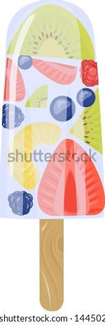 fruit ice cream isolated on the