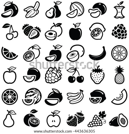 Fruit icon collection - vector outline illustration and silhouette