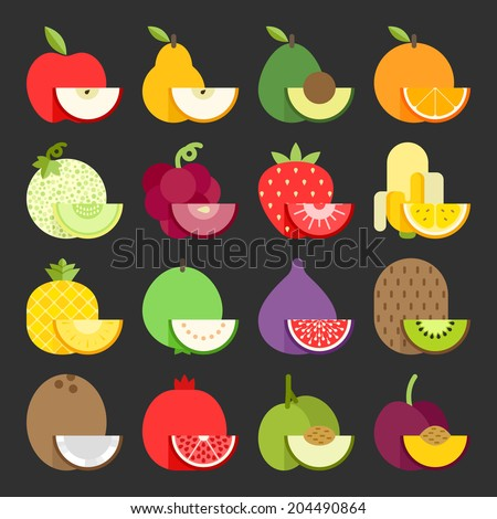 Fruit icon set, vector