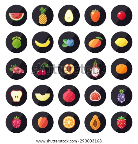 fruit icons big vector set