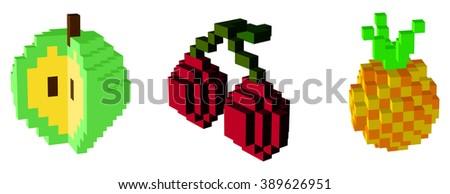 fruit icons  3d pixel art   for