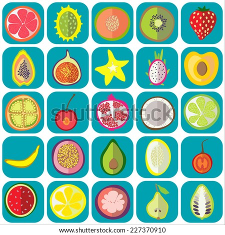 fruit icons flat vector graphic