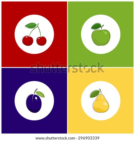 fruit icons  round white fruit
