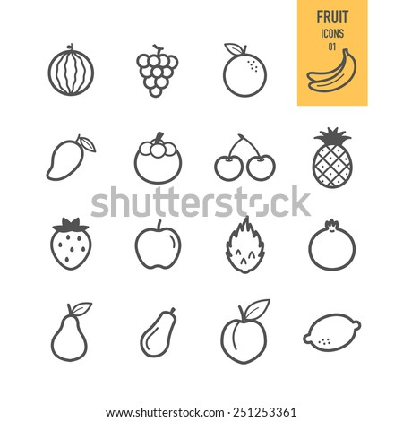 Fruit icons. Vector illustration.