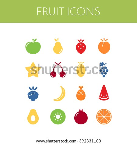fruit icons vector set of