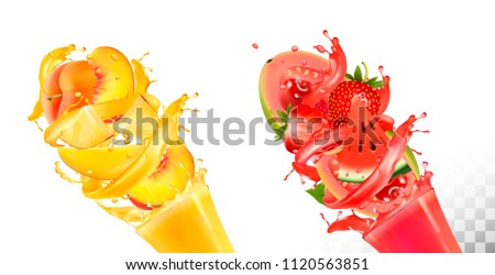 Fruit in juice splashes. Strawberry, guava, watermelon, pineapple, mango, peach. Vector.