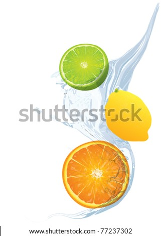 fruit in the water splash
