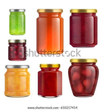 Shutterstock Fruit jam jar glass isolated on white background. Vector packaging mockup with realistic jam jar