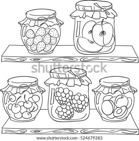 fruit jam on the wood shelf in