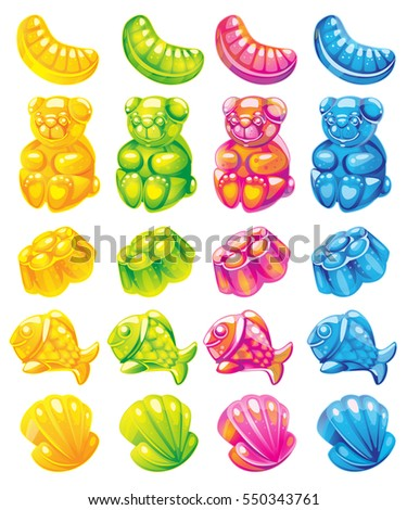 fruit jelly candies vector set