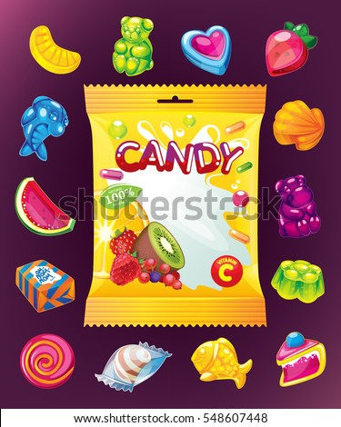 fruit jelly vector set and packing for sweets