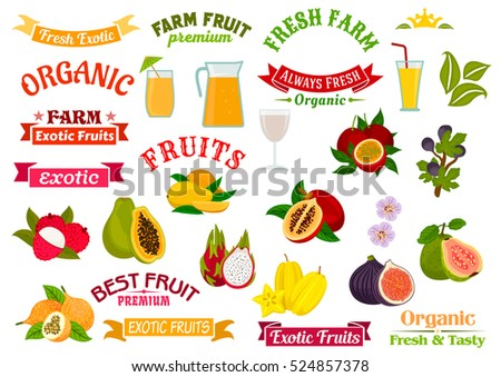 fruit juice badges set organic