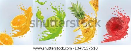 Fruit juice, pineapple, kiwi, orange, raspberry. Fresh fruits.Fruit splashes close up. Vector illustration.