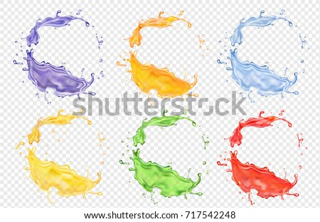 Fruit juice set, transparent realistic colored splashes vector icon