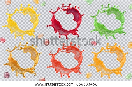 Fruit juice, splashes of paint. 3d vector icon set.