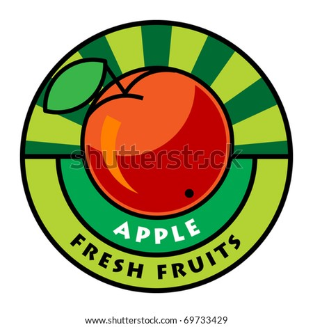Fruit label, apple, vector illustration