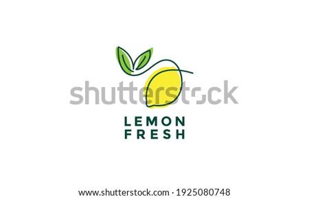 fruit lemon fresh lines art colorful logo design vector symbol icon illustration Foto stock ©