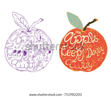 fruit lettering an apple a day