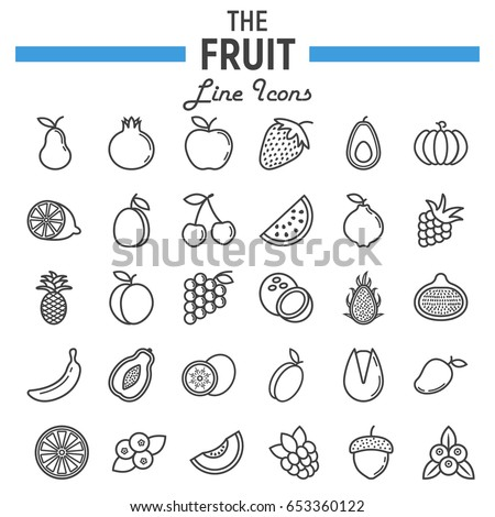 Fruit line icon set, food symbols collection, vegetarian vector sketches, logo illustrations, linear pictograms package isolated on white background, eps 10.