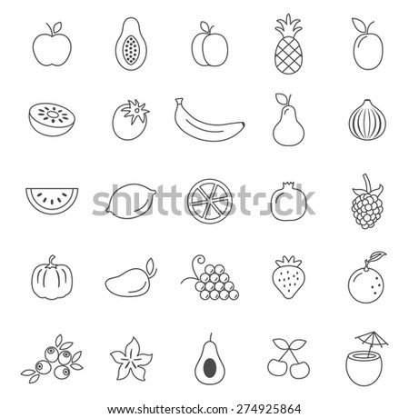 Fruit line icons set.Vector