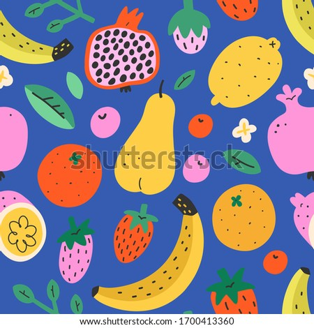 Fruit mix pattern, summer sweet food background, seamless vector texture, pomegranate, lemon and tropical fruit, cute doodle drawing, bright fashion print, modern trendy colorful backdrop