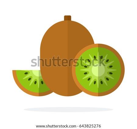fruit of kiwi  half of kiwi and