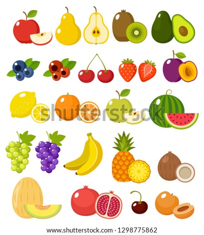 Fruit on a white background isolated. Vector illustration #1298775862