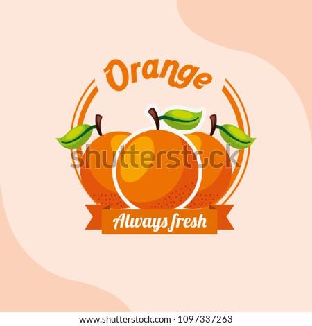 fruit orange always fresh emblem #1097337263