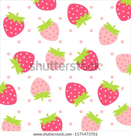 Fruit pattern.Cute fresh strawberry with pink polka dot isolated on white background.Design for print screen backdrop ,Fabric and tile wallpaper.Cartoon fruits.