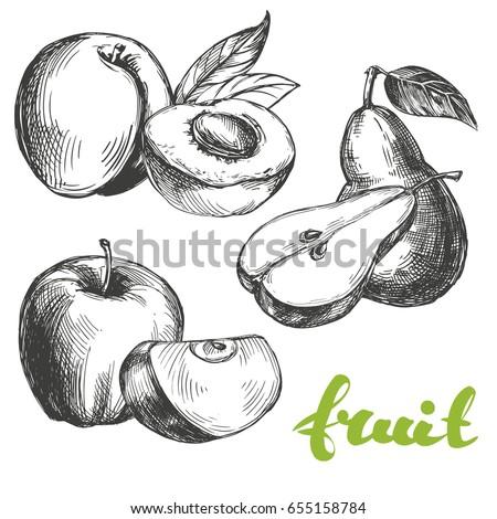 fruit peach  apple  pear set