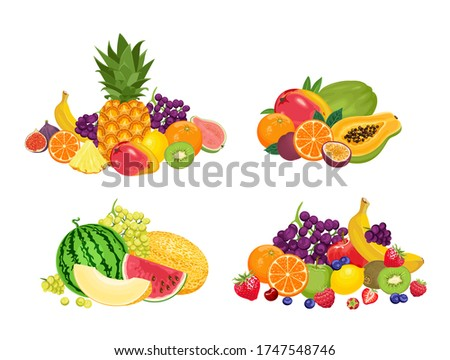 Fruit pile set. Vector illustration of banners with various tropical fruits isolated on  white background. Fresh food in cartoon flat style.