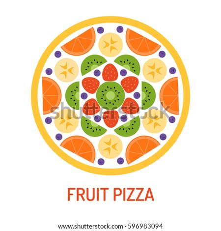 fruit pizza isolated on white