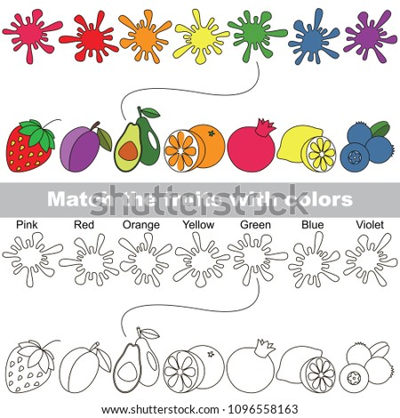 Fruit Rainbow set to find the appropriate couple of objects, to compare and connect objects and their relevant pairs, the matching educational kid game with simple gaming level for preschool kids.