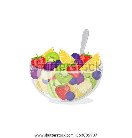 Fruit salad in glass bowl. Healthy vegetarian food  meal isolated on white.