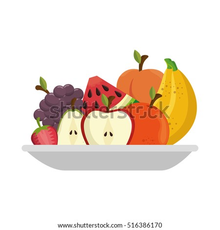 fruit salad plate isolated icon #516386170