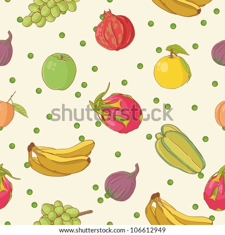 Fruit seamless pattern - stock vector