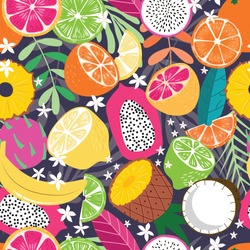 Fruit seamless pattern, collection of exotic tropical fruits with plants and flowers on dark purple background. Summer vibrant design. Colorful vector illustration
