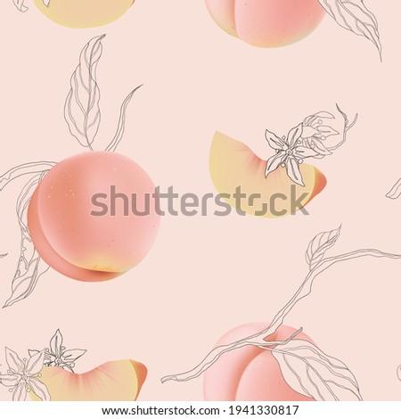 fruit seamless pattern  peaches
