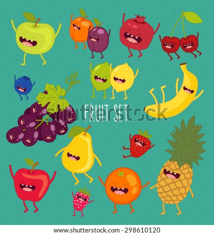 Fruit set. Apple, lemon, lime, pear, plum, apricot, blueberry, strawberry, pomegranate, grape, cherry, banana, orange, lime. Vector cartoon. Friends forever. Comic characters. #298610120