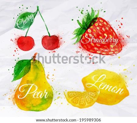 fruit set drawn watercolor