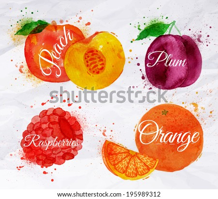 Fruit set drawn watercolor blots and stains with a spray peach, raspberry, plum, orange
