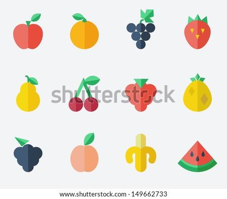 fruit set   flat design